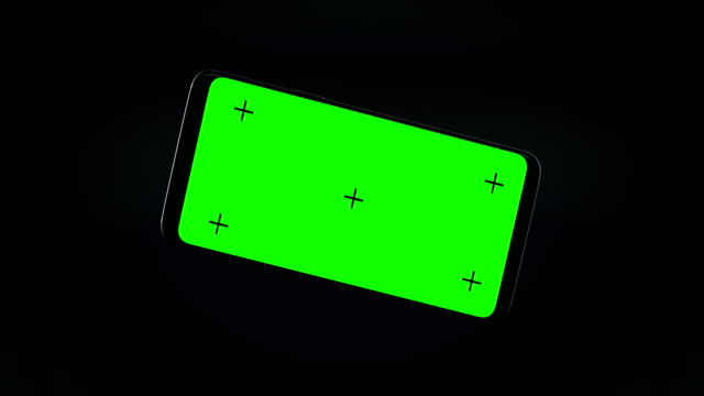 3d mobile phone animation with track point and green screen - tridimensionale video stock e b–roll