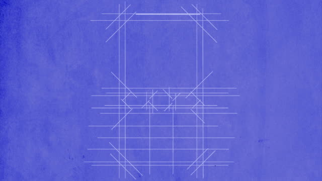 Mobile phone being drawn on blueprint paper video