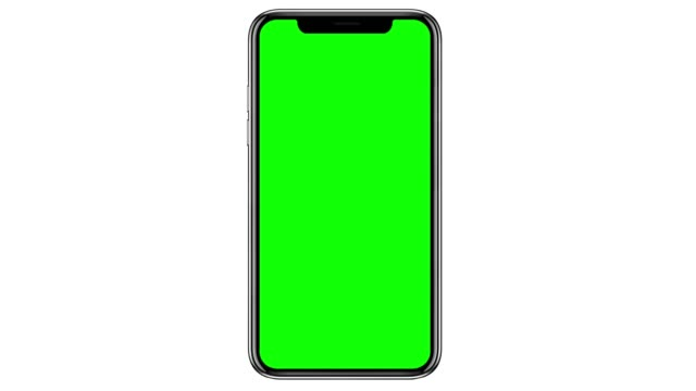 Mobile phone with blank green screen isolated on white background. 4K