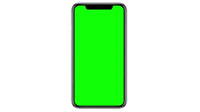흰색 배경에 격리 된 빈 녹색 화면과 휴대 전화. 4k - 배경 초점 스톡 비디오 및 b-롤 화면
