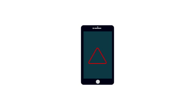 mobile phone.warning smartphone with notification exclamation mark on screen.4k resolution motion graphic - настороженность стоковые видео и кадры b-roll