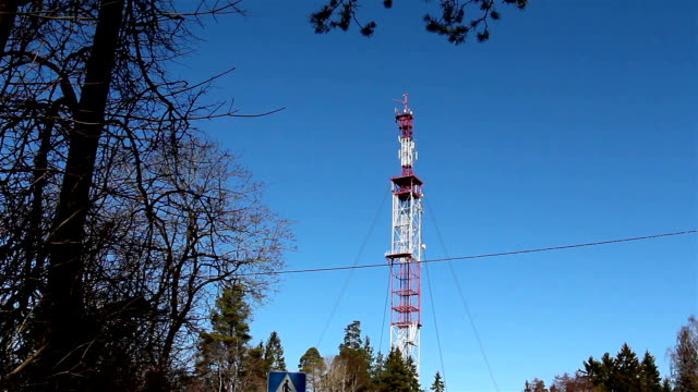 GSM mobile tower at the middle of the forest video