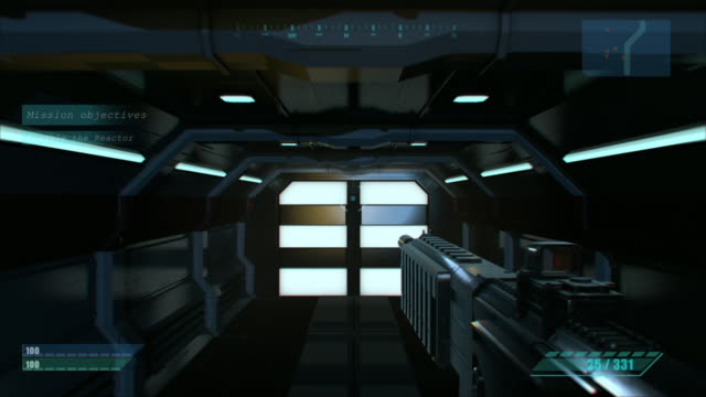 mock-up of the sci-fi first person shooter. 3d game walkthrough, fps with gun on a spaceship, war against flying robots. - gaming filmów i materiałów b-roll
