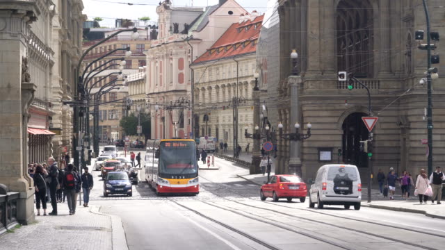 Mode of transportation such as Tram, car in Prague street, Czech Republic