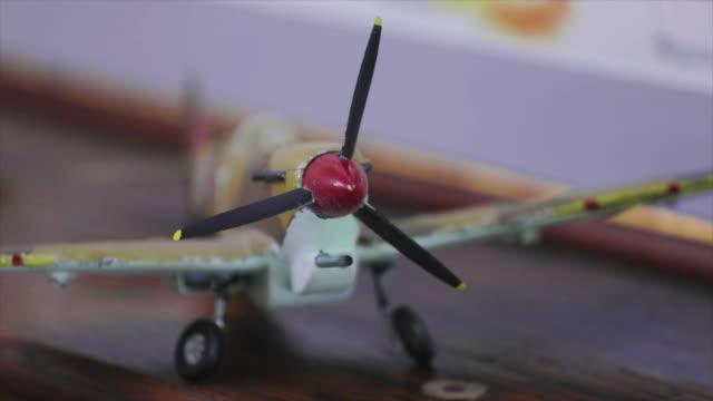 WW2 model airplane propeller close up