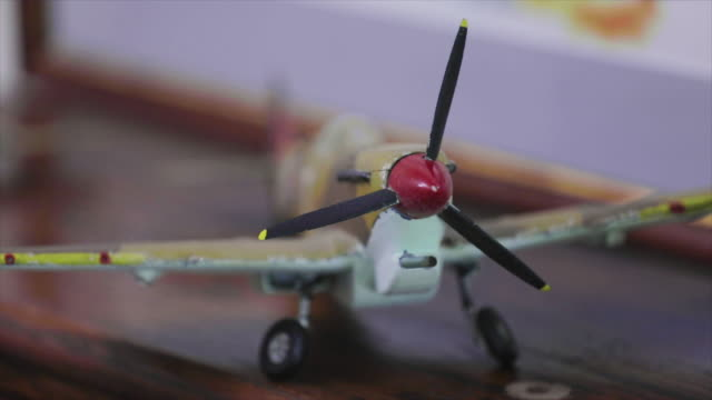 WW2 model airplanes close up focus pull