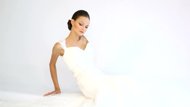 model in a wedding dress - wedding fashion stock videos and b-roll footage