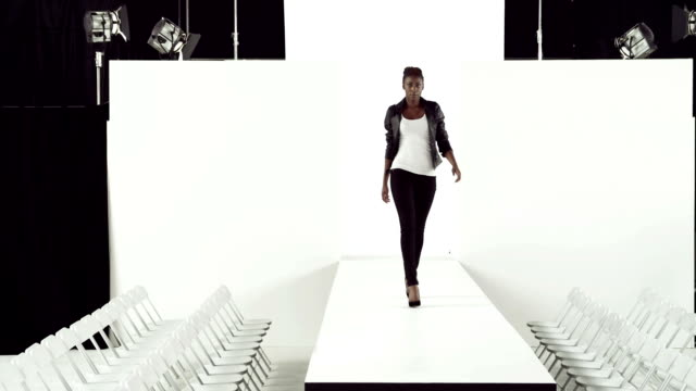 Model in black jacket on catwalk video