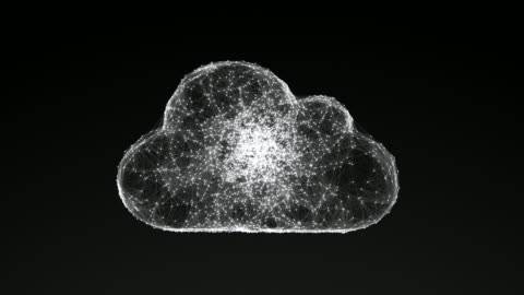 model of cloud computing, abstract geometric composition model of cloud computing, abstract geometric composition from chaotic slow moving dots and lines are placed in the object, 4K animation morphing stock videos & royalty-free footage