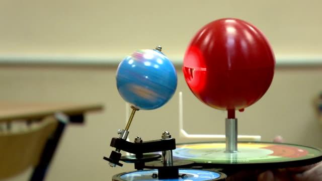 modella il sole, la terra e la luna. sistema solare - orbitare video stock e b–roll