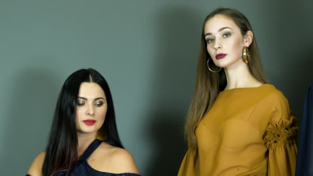 models during fashion week close-up pose on background wall at photo shoot models during fashion week close-up pose on background wall at photo shoot indoors photo shoot stock videos & royalty-free footage