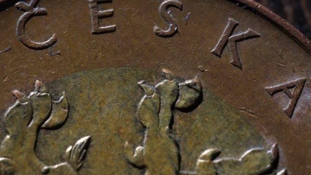 Moder Czech coins macro shots mix Moder Czech coins macro shots mix stamping feet stock videos & royalty-free footage