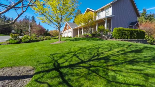 modern american suburban home exterior - backyard stock videos & royalty-free footage