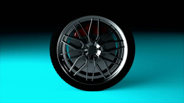 Modern and shiny car wheel on the surface, stylish object, 3d rendering computer generated backdrop
