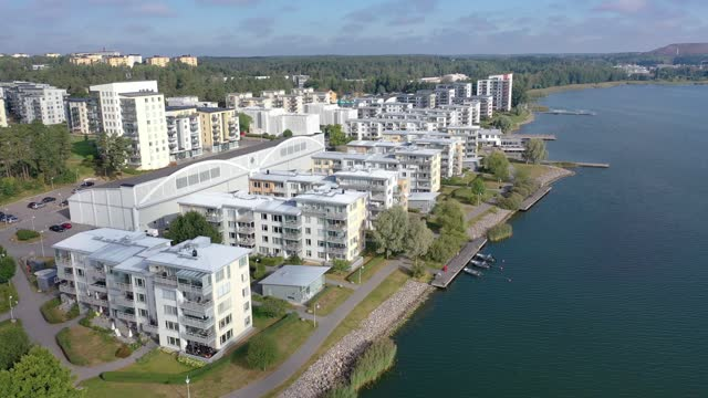Modern apartment buildings by the sea New apartment buildings by the sea at Hägernäs in Täby municipality outside Stockholm, Sweden. ocean front properties stock videos & royalty-free footage