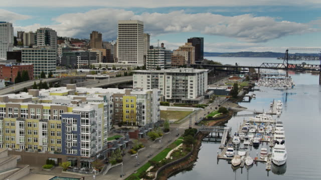 Modern Apartments on Waterfront in Downtown Tacoma - Drone Shot