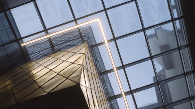 modern architecture interior with glass ceiling and lights - abstract architecture стоковые видео и кадры b-roll
