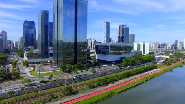 Modern architecture. Modern building in the world. Modern architecture. Modern building in the world. Aerial view of Avenida Marginal Pinheiros and river. marginal pinheiros stock videos & royalty-free footage