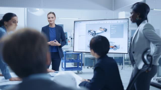 Modern Automotive Factory Office Meeting Room: Diverses Team aus Ingenieuren, Managern und Investoren im Gespräch am Konferenztisch, interaktives Fernsehen, das das Konzept von Green Energy Electric Car zeigt – Video