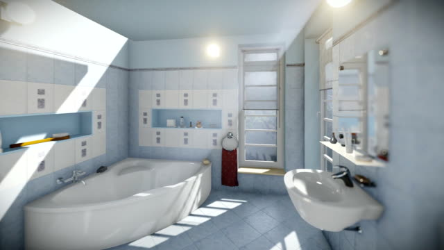 Modern bathroom interior, camera panning Modern bathroom interior, camera panning bathroom stock videos & royalty-free footage