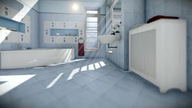 Modern bathroom interior, camera tilt video