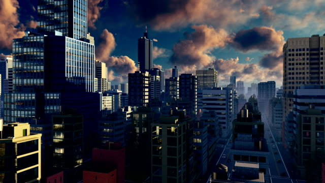 Modern big city skyline at sunrise Time lapse - video
