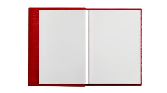 vídeos de stock, filmes e b-roll de moderno livro em branco isolado - virando
