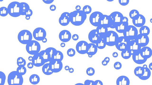 icone blu moderne come su sfondo trasparente. - icona mi piace video stock e b–roll