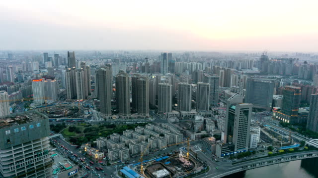 Modern buildings and urban cityscape of tianjing day to night,time lapse. video