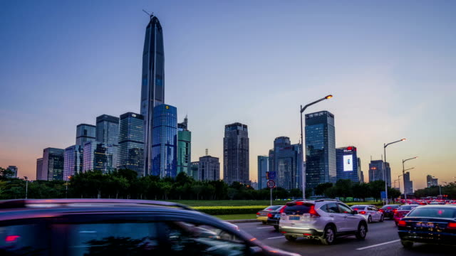 modern buildings exterior in shenzhen,Time lapse. modern buildings exterior in shenzhen,Time lapse. sunset to night time lapse stock videos & royalty-free footage