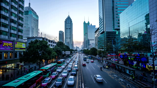 modern buildings exterior in shenzhen,Time lapse. video