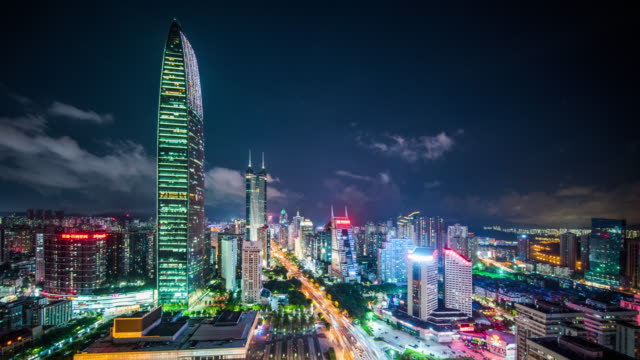 modern buildings exterior in shenzhen,time lapse - шэньчжэнь стоковые видео и кадры b-roll