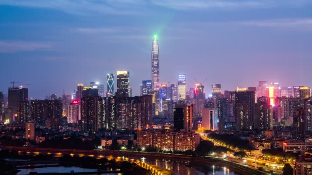 Modern buildings exterior in shenzhen,Time lapse Modern buildings exterior in shenzhen,Time lapse sunset to night time lapse stock videos & royalty-free footage