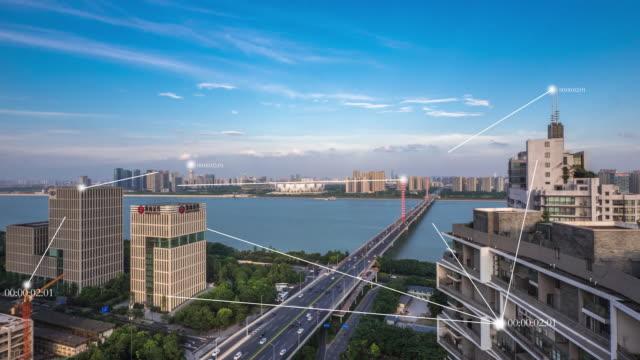 modern buildings in smart city. timelapse video