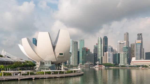 青空とマリーナベイの近代的な建物, シンガポール, タイムラプスビデオ ビデオ