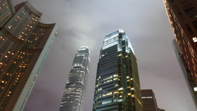 Modern business buildings at night, shot in hong kong, asia video