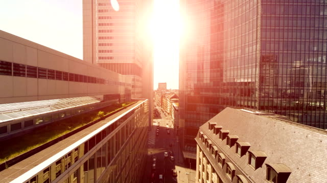 modern business buildings. skyline cityscape. street road video
