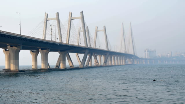 Modern cable stayed bridge built over an Arabian sea video