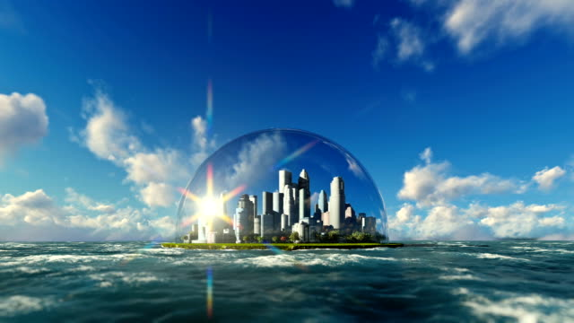 Modern city in a glass dome on ocean, timelapse sunrise video
