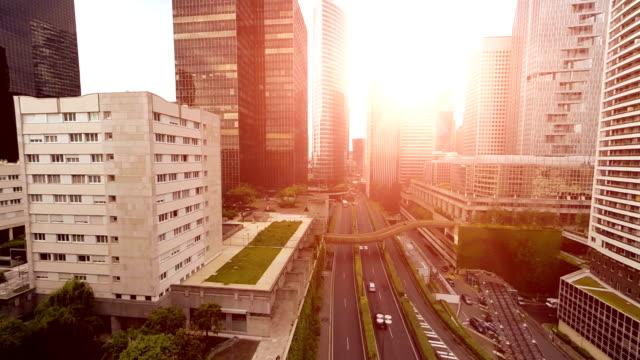modern city skyline district. business buildings video