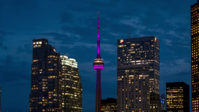 Video Modern City Skyline Downtown Toronto Storm Clouds at Night