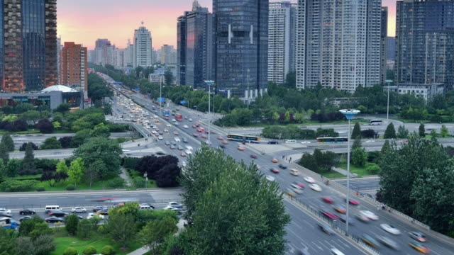 Modern City Traffic in Beijing, Day To Night Time Lapse video