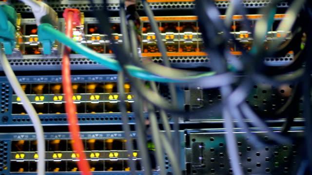 Modern computer server at a network data center, render farm. 4K. video