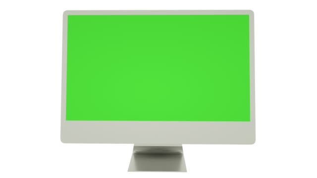 Modern computer with green screen, isolated on white. 3d render
