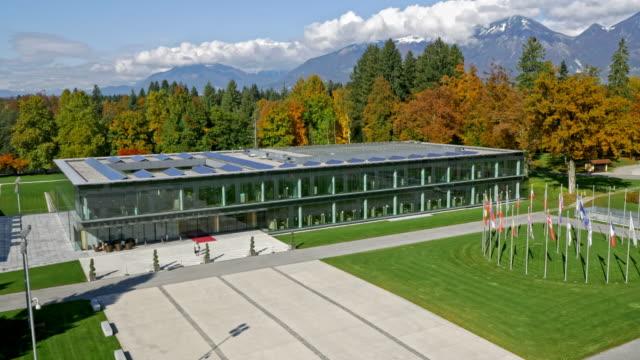 AERIAL Modern congress center in Brdo near Kranj, Slovenia