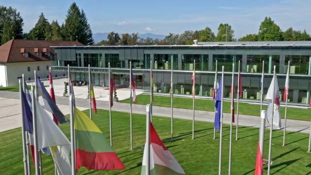 AERIAL Modern congress center in sunshine