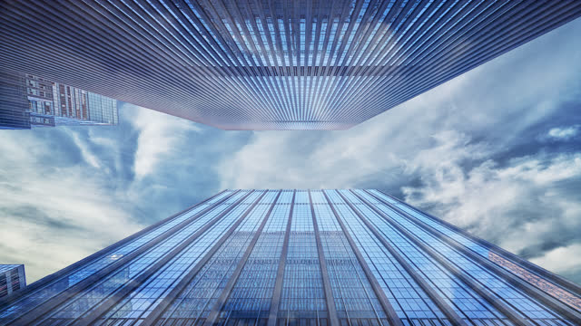 Modern Corporate Building in Sky. Business Concept