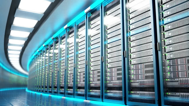 Modern datacenter. Cloud computing. 3d rendering video