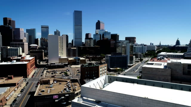 Modern Denver , Colorado Panning across entire Skyline Citscape aerial drone view