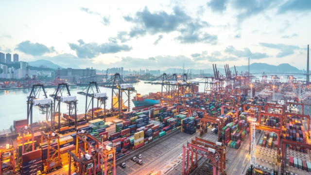 modern dock of Hong Kong  time lapse 4k video